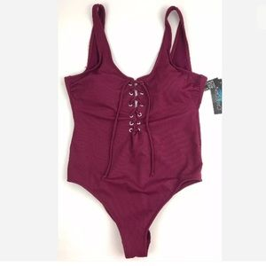 California Waves Swim - Sexy Cheeky lace up wine color one piece swimsuit